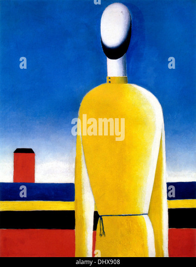 Half-Figure in a Yellow Shirt  - by Kazimir Malevich, 1932 - Stock Image