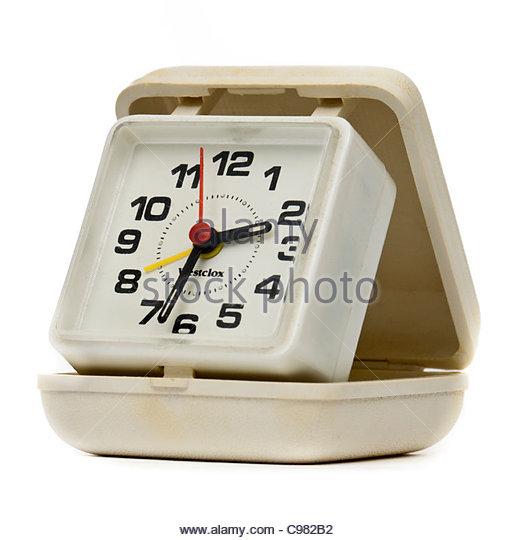 Vintage Westclox folding analogue travel alarm clock - Stock-Bilder