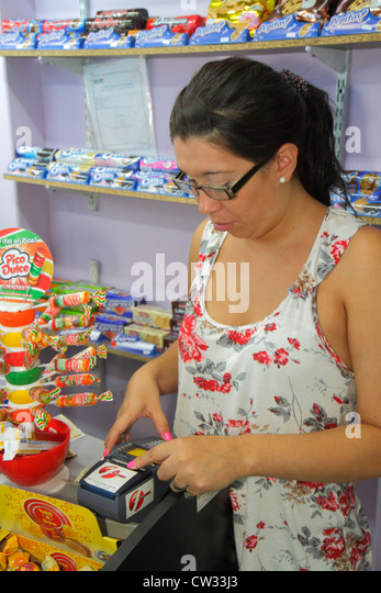 Argentina Mendoza Avenida San Juan convenience store business shopping confectionery brand product display candy - Stock Image