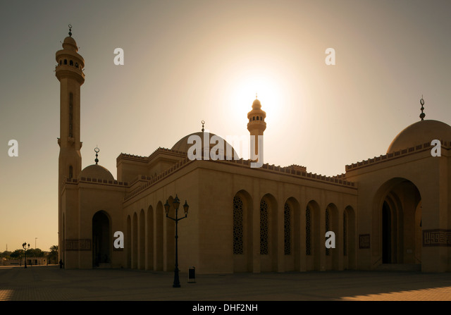 Al Fateh Grand Mosque at sunset, Manama, Bahrain - Stock Image