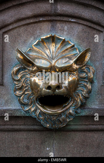 Peru, Lima.  Mythical Wall Decoration, Central Lima. - Stock Image