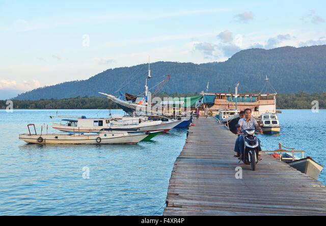 A dock in Sulaiman Bay, Biduk-Biduk - Stock Image