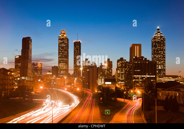 USA, United States, America, Georgia, Atlanta, architecture, cars, downtown, modern, new, pollution, rush hour, - Stock-Bilder