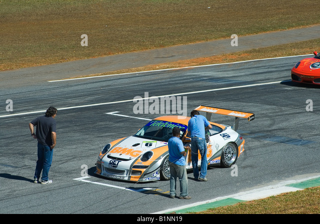 TV Press Working, Porsche 997 Cup S GT3, Brazilian Racing Cup, Nelson Piquet Autodrome, Brasilia, Brazil, South - Stock Image