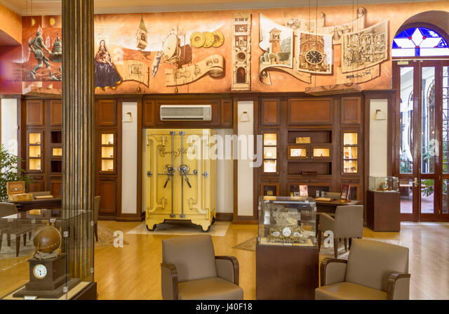 Cuervo Sobrinos jewellery museum, antique watches, founded 1882 in Havanna, Cuba - Stock Image