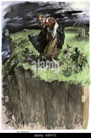 Cluricauns of Irish folklore leading a traveler astray - Stock Image