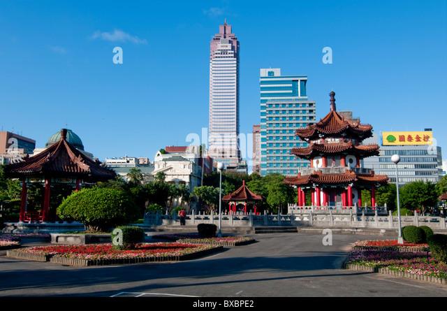 Asia, Taiwan, Taipei, City Park pagoda - Stock Image