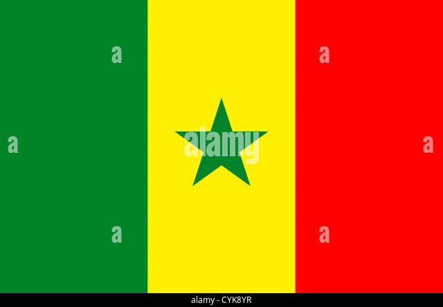 National flag of the Republic of Senegal. - Stock Image