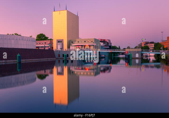 Groninger Museum at the blue hour in Groningen, the Netherlands - Stock Image
