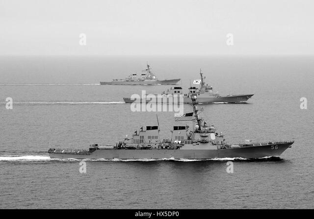 Arleigh Burke-class guided-missile destroyer USS John S. McCain (DDG 56), Republic of Korea Navy Aegis-class destroyer - Stock Image