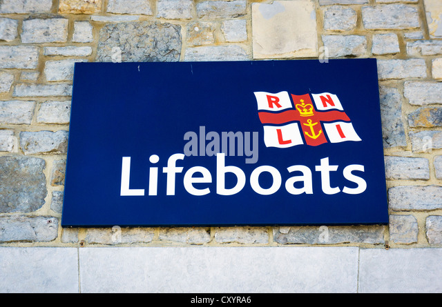 RNLI lifeboats sign, UK - Stock Image