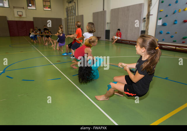 gymnastics at school in Holland - Stock Image