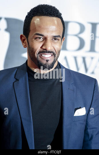Celebrities  attends the Brit Awards 2016 at the O2 Arena in London.  Featuring: Craig David Where: London, United - Stock Image
