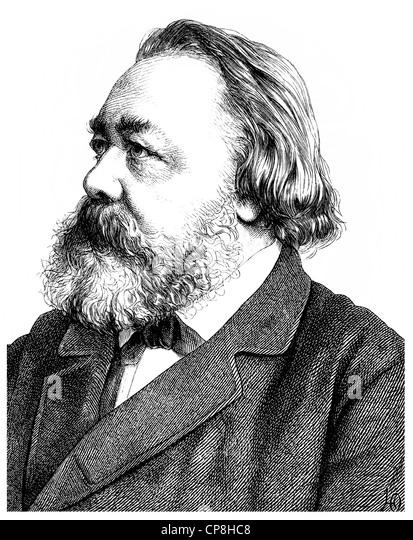 Hermann Ferdinand Freiligrath, 1810 - 1876, a German Lyric poet, translator and poet, Historische Zeichnung aus - Stock Image