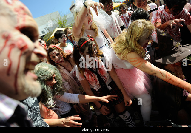 Crowd of Zombies in the inaugural Zombie Walk, Perth, Western Australia - Stock Image