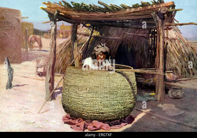 Traditional Native American Basket Weaving : Apache indian stock photos images