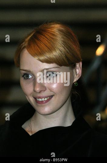 Actress Viktoria Smirnova screened in the Russian film Zhivoi before its first run in the Pushkinsky movie theater - Stock Image