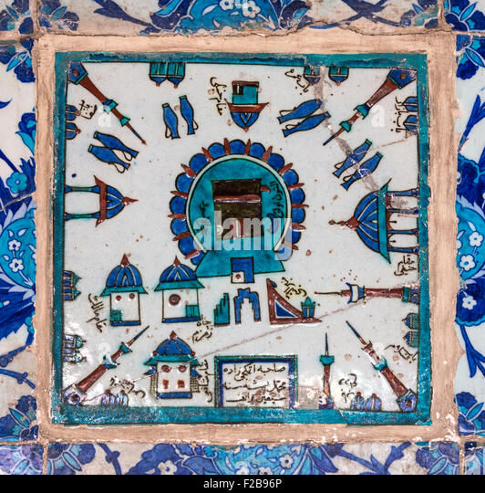 16th cen. Iznik tile depicting the Kaaba and Mecca. In the portico of the Rustem Pasha Mosque, Tahtakale, Istanbul, - Stock Image