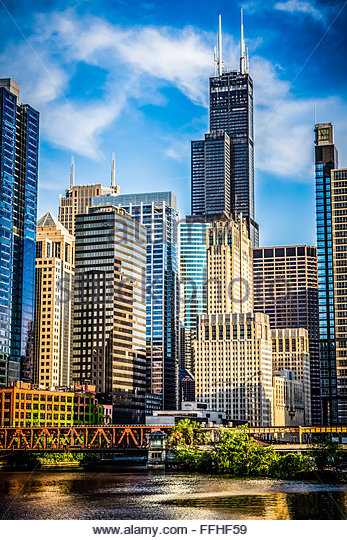Chicago picture of downtown city office buildings and skyscrapers at Lake Street Bridge including Willis Tower (Sears - Stock Image