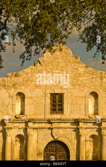The Alamo mission, historic shrine monument at Alamo Plaza San Antonio Texas TX - Stock Image