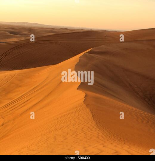 Desert at sunset, Dubai UAE - Stock Image