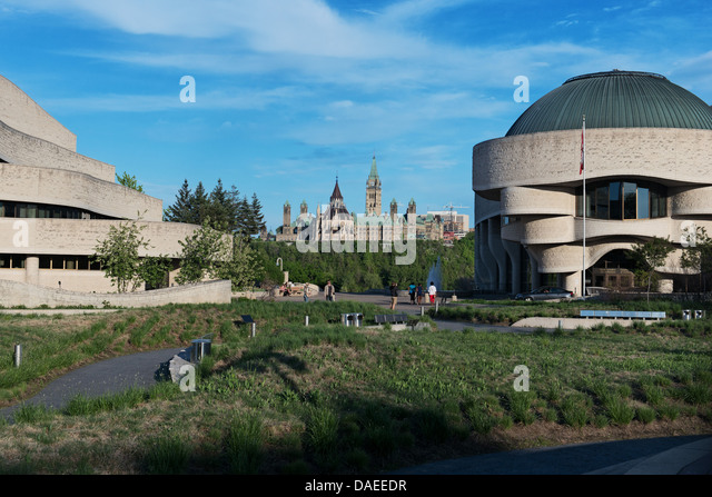 Ottawa Parliament hill and canadian museum of civilization in Gatineau - Stock Image