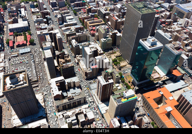 Aerial view of Jeppe Street, Johannesburg Central business district, with the skyscraper Marble towers Sanlan Centre - Stock Image