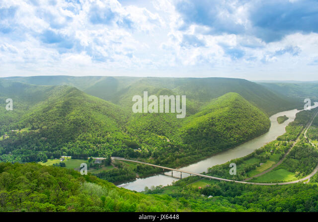 Pennsylvania scenic Hyner View State Park view of West Branch Susquehanna River. - Stock Image