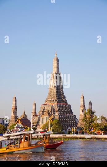 Asia Thailand Bangkok Wat Arun Temple of Dawn Chao Phraya River River Rivers Temple Temples Thai Temple Thai Temples - Stock Image