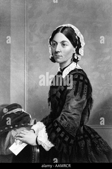 1800s 1870s PORTRAIT FLORENCE NIGHTINGALE BRITISH NURSE FOUNDER OF MODERN NURSING DURING CRIMEAN WAR PAINTING BY - Stock Image