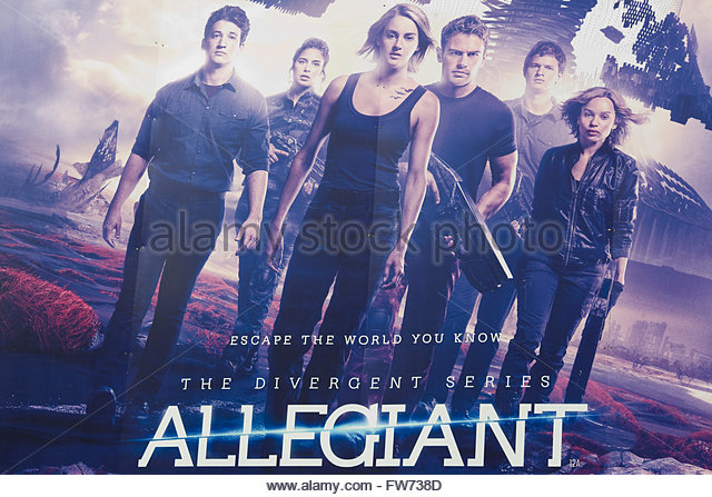 Movie poster advertising the film The Divergent Series, Allegiant - Stock Image