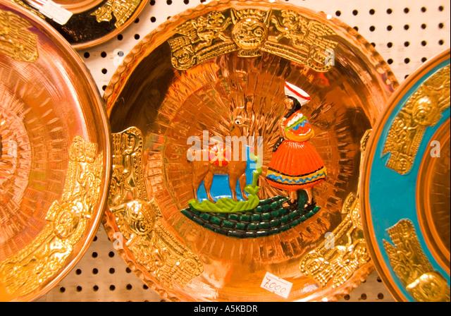 Chile Atacama desert Andes Highlands shopping souvenirs decorative wall plates - Stock Image