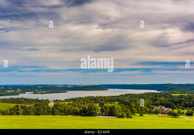 View of the Susquehanna River from High Point in Eastern York County, Pennsylvania. - Stock Image