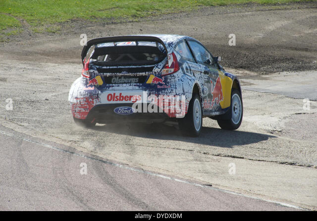 Rear view of a Ford fiesta ST World Rally Cross car on the track at Lydden Hill c circuit, Kent, - Stock Image
