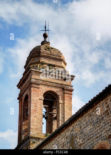 Europe, Italy, Tuscany, Montalcino.  The bell tower of the 14th century Sant'Agostino church in the town of - Stock-Bilder