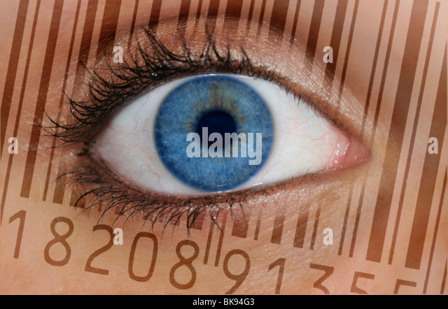 Close-up of an eye with the EAN barcode, European Article Number, on the iris, symbolic picture for transparent - Stock Image