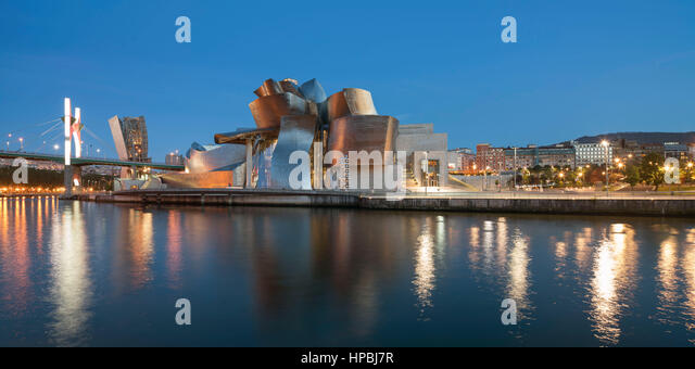 Panorama of Guggenheim Museum Bilbao , museum of modern and contemporary art , architect Frank Gehry , Nervion river, - Stock Image
