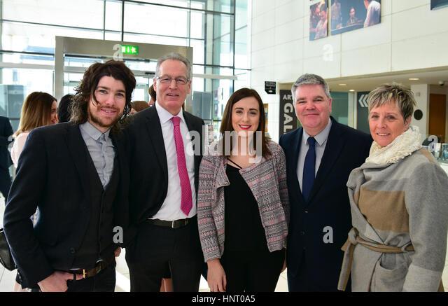 Armagh City, UK. 15th February 2017. Sinn Féin's Garath Keating, Gerry Kelly, Megan Fearon, Cathal Boylan - Stock Image