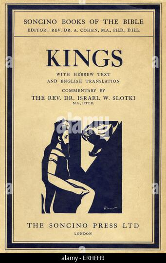 Illustrated book cover of 'Kings I and II' published by Soncino, London, c.1950. One of the Kings of ancient - Stock Image