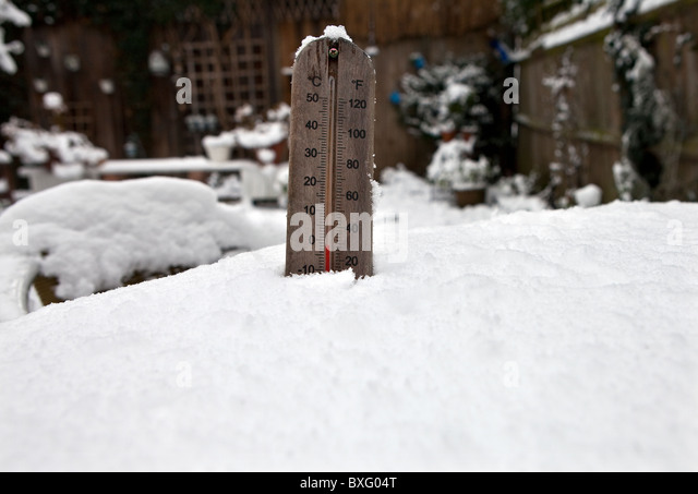 Thermometer showing temperature below zero. - Stock Image