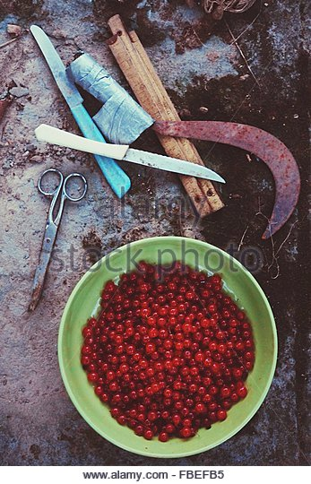 High Angle View Of Cherries In A Bowl - Stock Image