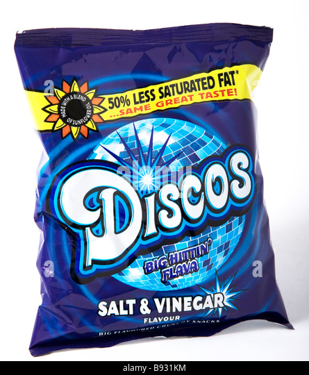 disco crisps half 50% less saturated fat - Stock Image