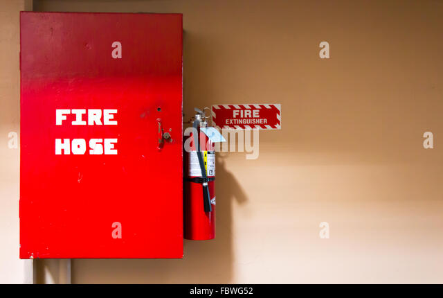 Fire hose safety equipment - Stock Image