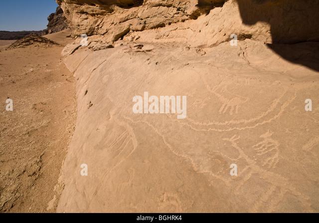 Shot of wadi floor showing rock-art  in the Eastern Desert of Egypt. - Stock Image