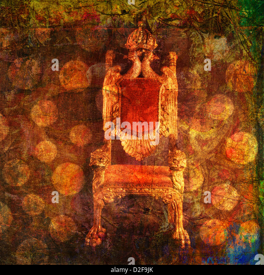 Empty throne with pattern of dots. Photo based illustration.  - Stock Image