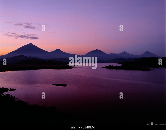 Uganda, Southwest Uganda, Lake Mutanda. Lake Mutanda is possibly the most beautiful lake of the Great Lakes region. - Stock Image