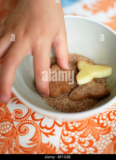 Apples, cinnamon and sugar, close-up, Sweden. - Stock Image