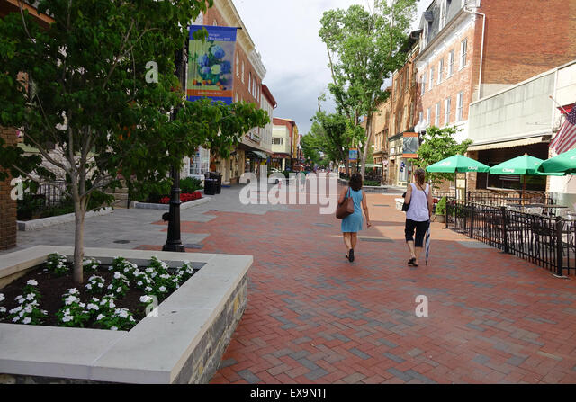 Old Town pedestrian mall in Winchester, Virginia - Stock Image