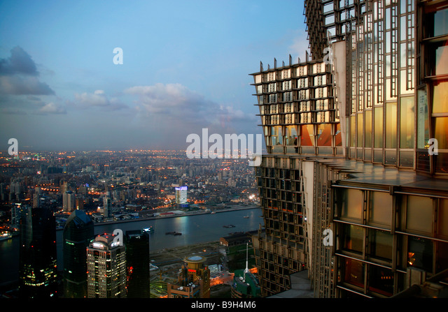 China, Shanghai. View from the Jin Mao Tower in Shanghai over the Huangpu River. - Stock Image