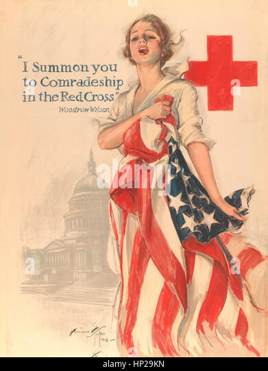"""""""I Summon You to Comradeship in the Red Cross"""" by Harrison Fisher (American, Brooklyn, New York 1877–1934 New York) - Stock Image"""